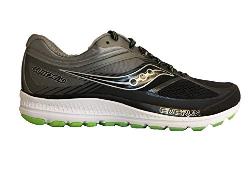 Saucony Men's Guide 10 Running Shoes, Black/Lime 8.5 M US