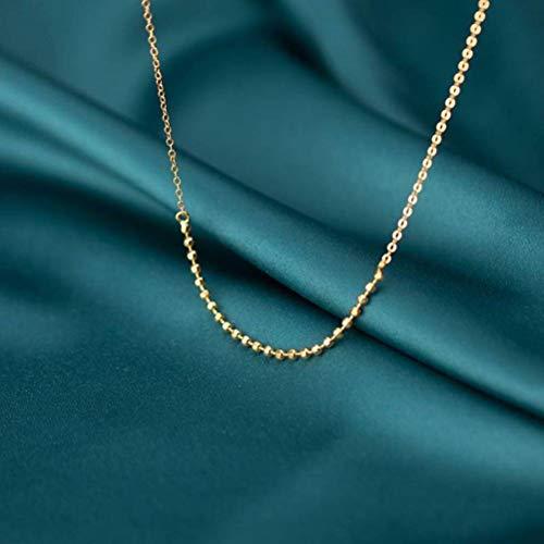 TYERY Collar de Plata S925, Cadena de Clavícula de Corazón de Niña Literaria con Cuentas de Luz Simples de Moda de...