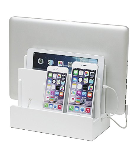G.U.S. Multi-Device Charging Station Dock & Organizer - Multiple Finishes Available. for Laptops, Tablets, and Phones - Strong Build, High Gloss White