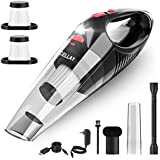 Handheld Vacuum, Cellay Cordless Handle Vacuum Cleaner with USB Charging Cable, International Charging Adapter, Waterwashable Steel Filter, 120W 7000pa Powerful Wireless Vac with LED Light for Car
