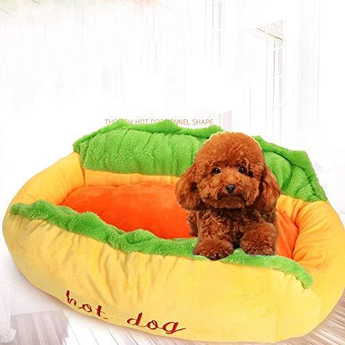 Huisdierbed afneembaar en wasbaar, kussensloop, chenille-fleece, zacht, traditionele sofa, sofa, sofa, overtrek voor honden en katten, met boerderij, ademend katoen, 63 * 47 * 21cm, As-picture