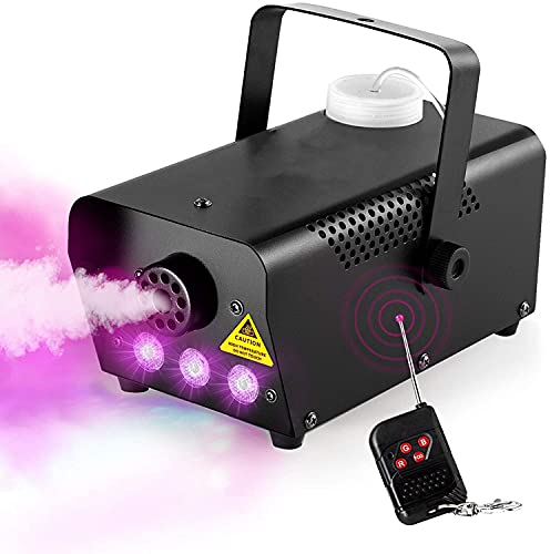 Fog Machine,HOLDLAMP Smoke Machine with LED Stage Lights Effect, 500W and 3000CFM Fog with 1 Wired Receiver and Wireless…