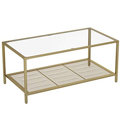 VASAGLE Couchtisch, Wohnzimmertisch mit Hartglas und engmaschiger Gitterablage, aus Metallgestell, stabil, für Wohnzimmer, Gold-Transparent LGT031A01