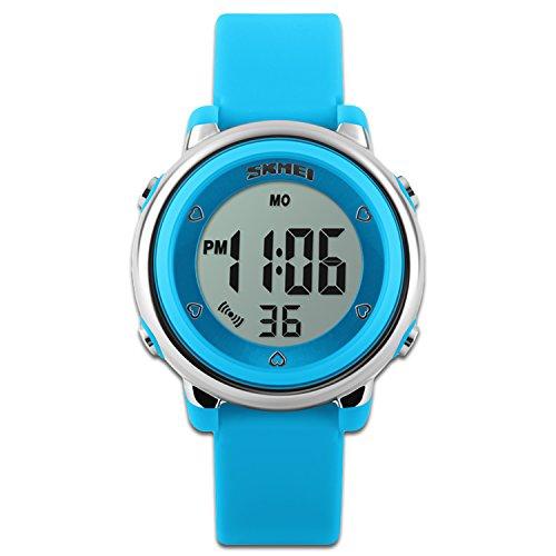 Bambini orologi orologio sportivo con cronometro e 7LED retroilluminazione funzione Time Teacher blu & bianco & verde cinturino in silicone bambine w