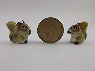 2pc Squirrel Figurines Collection Squirrel Painted Ceramic Miniatures Animals Porcelain Doll House