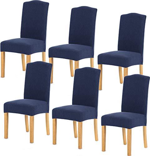 TIANSHU Fundas para sillas 6 Piezas,Poliéster Elástica Fundas sillas Duradera Modern Bouquet de la Boda Hotel Decor Restaurante(6 Piezas,Azul Oscuro)