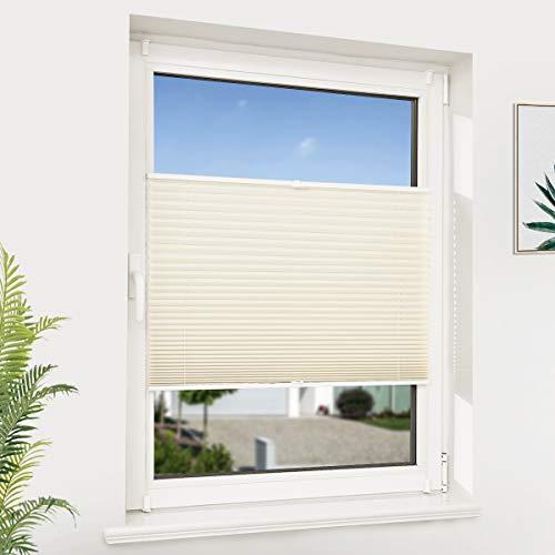 NoCon Plissee ohne Bohren Klemmfix Jalousie Rollo für Fenster & Tür Fensterrollos Sonnenschutz- und Sichtschutz Easyfix, 110x120cm (BxH) Beige