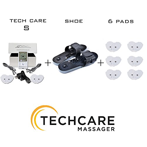 TechCare S Tens Massager FDA Cleared Unit Electric Massager Set with 6 Extra Pads + Reflexology Shoes Pain Relief Therapy Back Shoulder Neck Pain, Arthritis, Bursitis, Tendonitis, Sciatica