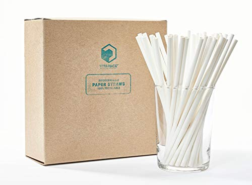 Vitapack 100-Pack White Paper Straws 7.75 Certified Compostable Made in USA