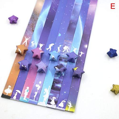 Papel Plegable Estrella de la Suerte Cinta de Papel Cielo Universo patrón Origami artesanía Hecha a Mano Tarjeta para el hogar decoración de Regalo - Gris Oscuro