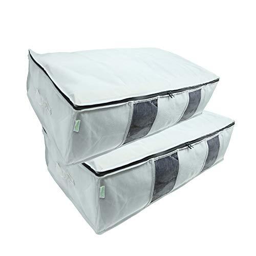 SOHFA Unterbettkommode 110L | große Aufbewahrungstasche aus atmungsaktiven Stoff für Bettdecken, Kleidung oder Decken | faltbare Unterbett Stofftasche 2 Stück