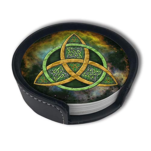 Coasters for Drinks Cool Celtic Trinity Knot Leather Coasters with Holder Set of 6, Avoid Furniture Being Scratched and Soiled, Housewarming Gift for Home Decor