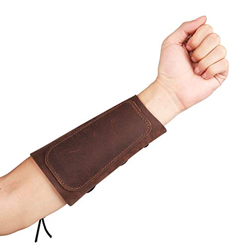 KRATARC Archery Leather Adjustable Protective Arm Guard for Hunting Shooting Target Practice Bow (Brown)