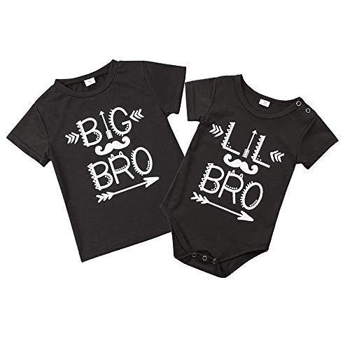 Baby Jungen Bruder Matching Letter Print Kurzarm T-Shirt Lustig Strampler Overall Kleidung Outfit (Body Schwarz, 70cm)