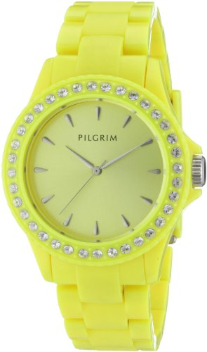 Pilgrim Damen-Armbanduhr Analog Quarz Kunststoff gelb 780-258