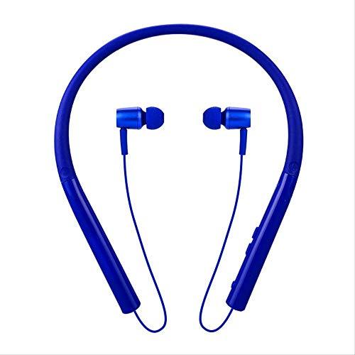 HAOSHUAI draadloze Bluetooth koptelefoon extra lange stand-by loopsport waterdicht sweat omhangen neck stereo post-oor blauw (kleur: wit)