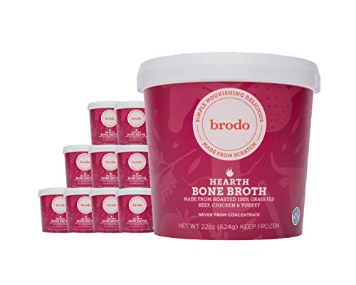 Hearth Bone Broth by Brodo (Signature Blend of Chicken, Beef, Turkey), 10 Pack, Keto Diet, Gluten Free, Paleo Friendly, Whole 30 Approved, Great for Intermittent Fasting, 22 oz