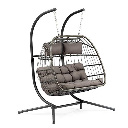 Yechen Egg Chair Aluminum Frame Swing Chair in Door Outdoor Hanging Egg Chair Patio Wicker Hanging Chair Hammock Chair with Stand and UV Resistant Cushion 350-pound Weight