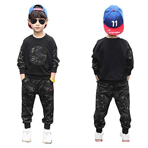 DTZW Conjunto de 2 piezas de pantalones de camuflaje de manga larga para niños, ropa de primavera y otoño (color: B, tamaño: 160)
