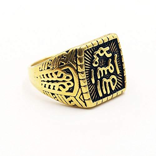 CRYPIN Anillo islámico musulmán de Sello de Acero Inoxidable árabe Shahada de Oriente Medio, tamaño 7-15