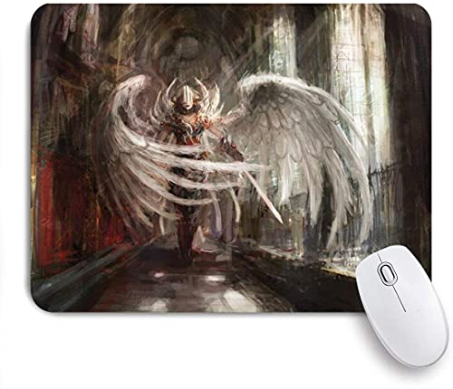 ZOMOY Gaming Mouse Pad Fantasy Cyborg Angel Girl Warrior with Gothic Architecture Illustration Print 9.5'x7.9' Nonslip Rubber Backing Mousepad for Notebooks Computers Mouse Mats