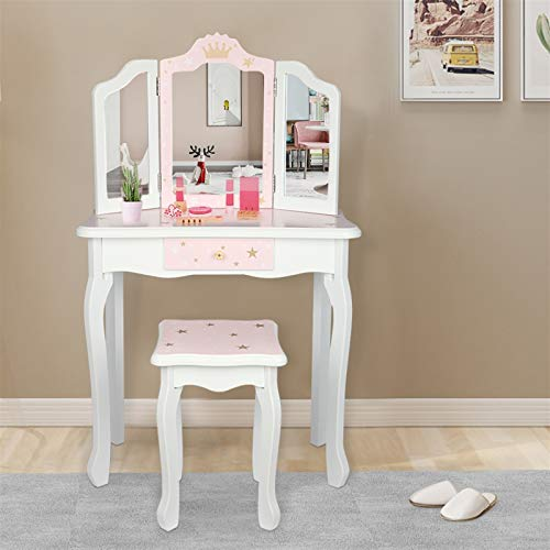 Pink Kids Vanity Set Wood Makeup Table and Chair Set for Little Girls Princess Child Vanity Desk Tri-Fold Mirror Dressing Table with Drawer (Pink Star Style)
