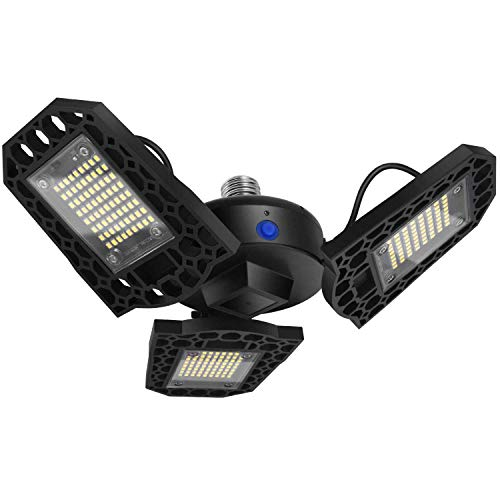 Led Garage Lights, 2020 7200Lm 60W Deformable Garage Lighting with 3 Adjustable Panels, 216 Pcs Light Beads Led Garage Ceiling Lights Shop Lights for Garage, Warehouse, Corridor, Stadium