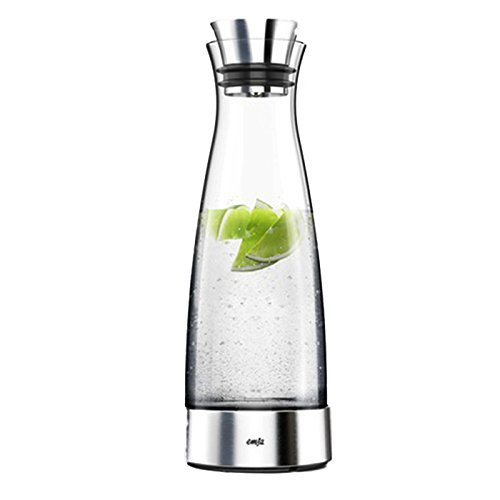 Emsa 515668 Glaskaraffe (mit Kühlelement, 1 Liter, Automatische Verschlussklappe, Glas, Edelstahl, Flow Classic)