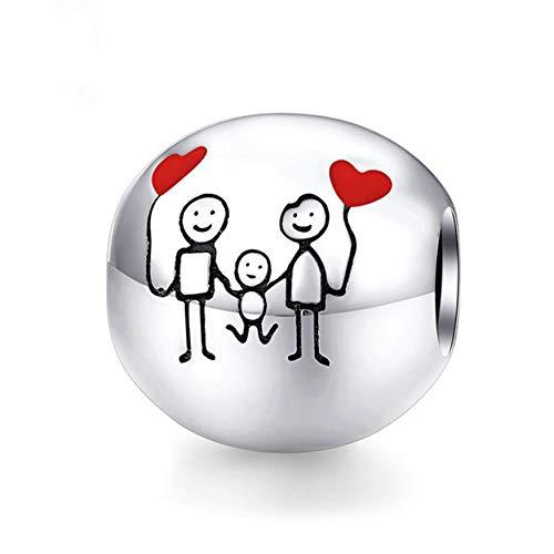 Desconocido JCaleydo Charm. Family Forever, Familia Siempre, Plata de Ley 925 Compatible con Pulsera Pandora & Europeo, Charms para Mujer Niña