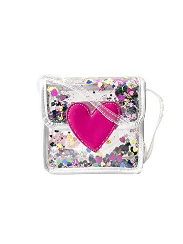 Bolso Bandolera Cartera pequeña de destellos transparente y parche de corazon rosa Agatha Ruiz de la Prada