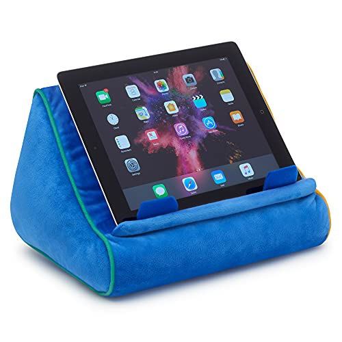 Book Couch iPad Stand, Tablet Stand and Book Holder, Reading Pillow Cushion in Bed at Home Travel, Lap Rest Support, Gift Idea Compatible with eReader/Kindle/Smartphone (Blue)