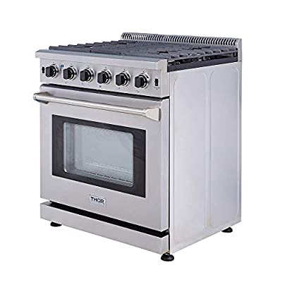 "Thor 30"" Professional Style Stainless Steel Gas Range Oven with 5 Burner, LRG3001U,"