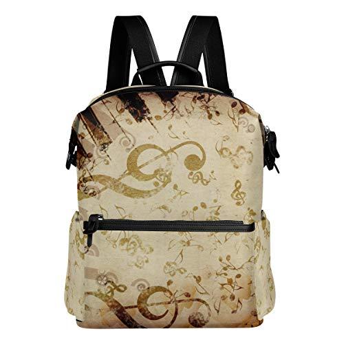KIMDFACE Rucksack,Vintage Grunge Hintergrund Rose Music Notes,Laptoptaschen Casual Print Umhängetasche Student Daypack Reisen Wandern Camping Packs(29 * 16 * 38 cm)