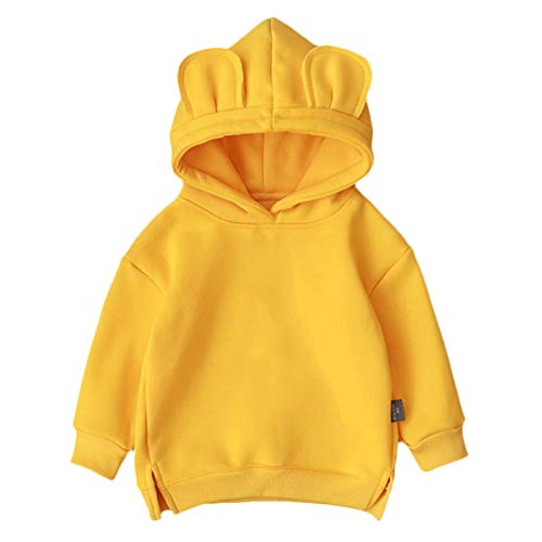 famuka Unisex Toddlers Sweatshirt Solid Colors Baby Hoodie (Yellow, 12-18 Months)
