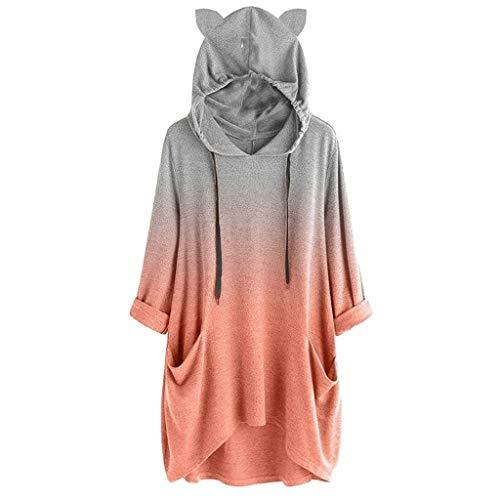 Lulupi Felpa Lunga con Cappuccio A Vita Alta Pullover con Manica Lunga Colore Sfumato Gatto Camicetta Stampa Orecchie Cappotto Giacche