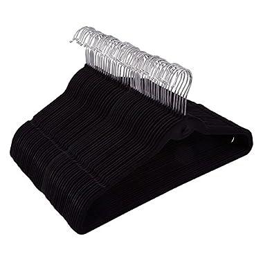 Juvale 50 Pack Black Velvet Hangers - Non Slip Hangers with Cascading Hooks - Thin Hangers - Non Slip Hangers, Black, 17.5 x 9.2 x 0.2 Inches