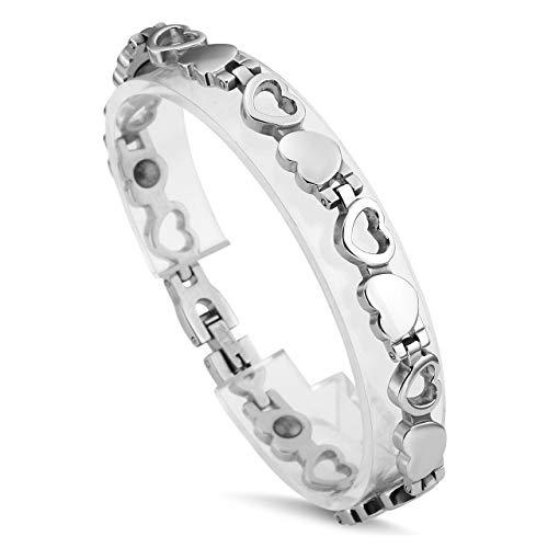 Jovivi Schmuck Damen Edelstahl Magnetarmband Herz Armband mit Hematit Magnet Armreif 8