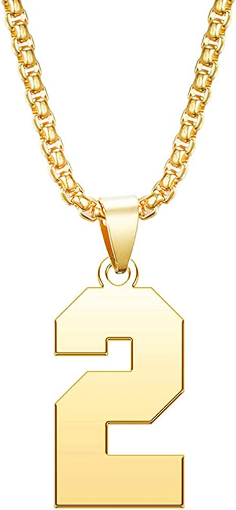 DWJSu Sports Lucky Number Necklace Gold Personalized Custom Jersey Number Pendant Necklace for Mens Boys Unisex
