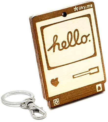 LIKY Ordenador Apple Macintosh 128K Hello World - Llavero Original de Madera Grabado Regalo Mujer Hombre cumpleaños pasatiempo joyería Colgante Bolso Mochila