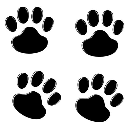 NewL 4PCS Black 3D Chrome Dog Paw Footprint Sticker Decal Auto Car Emblem Decal Decoration (Black)