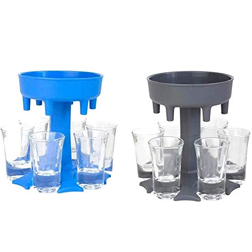 AFGQIANG Shot Glass Dispenser Six Ways,Great Party Gift,Multiple 6 Shot Glass Dispenser and Holder Carrier Caddy Liquor Bottles Dispenser Pourer Drinking Games (Sky blue)