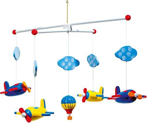 """small foot 7938 Mobile """"Aviation"""" en bois, avec nuages, avions et montgolfière"""
