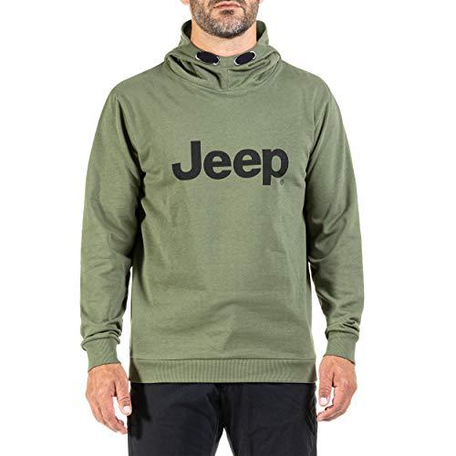 Jeep Felpa con Cappuccio E Stampa del Logo Oversize J20w, Military/Black, S Uomo