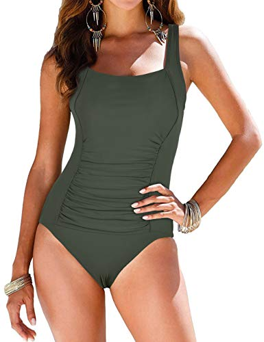 coastal rose Women's Tummy Control Swimsuit One Piece Ruched Swimwear Monokini US8 Light Army Green