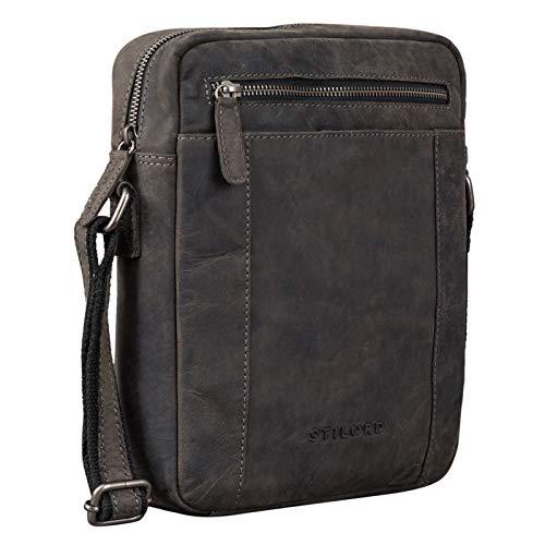 STILORD 'Fox' mannen tas leer vintage boodschappentas mannen handtas klein voor 10,1 tot 10,5 inch iPad tablet hoes mannen handtas echt leer, Kleur:avaro - grijs