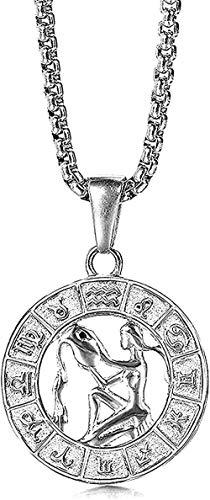 LDKAIMLLN Co.,ltd Collar Mujer Hombre Colgante Color Plata Acero Inoxidable 12 Constelación del Zodiaco Aries Colgante Collar para Hombres Mujeres Regalo Acuario