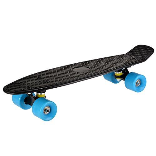 Teaio Mini Cruiser Retro Skateboard 22 Zoll Vintage Mini-Cruiser-Board Komplettboard für Anfänger Jugendliche Kinder und Erwachsene, Schwarz Deck, EU Stock