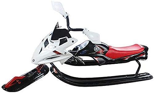 125cm Kunststoff-Racer-Schlitten, Schneeschlitten mit Lenkrad und Doppelbremse Snow Racer-Schlitten für Kinder ab 6 Jahren - kann ZWeißKinder oder einen Jugendlichen halten