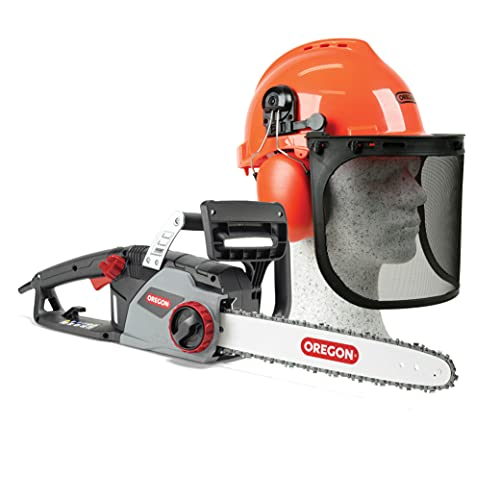 An image of the OREGON CS1400 2400 W Electric Chainsaw, Powerful Electric Saw & Yukon Chainsaw Safety Helmet with Protective Ear Muff and Mesh Visor, Impact Resistant Comfortable Hard Hat Safety Protection Equipment