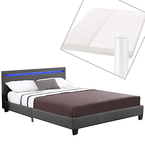 ArtLife Polsterbett Verona | 120×200 cm | Bettgestell inkl. LED-Beleuchtung, Lattenrost & Matratze | grau | Stoff | Einzelbett Jugendbett